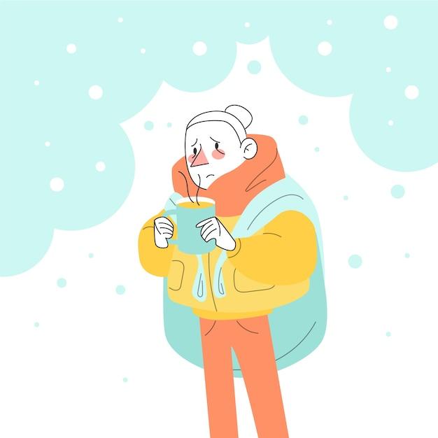 風邪の人 無料ベクター