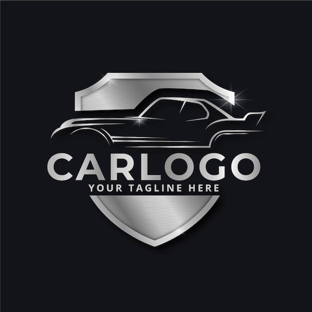 Реалистичный металлический автомобиль марки серебряный логотип Бесплатные векторы