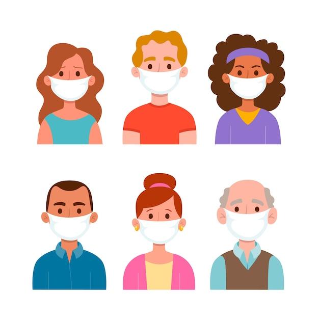 Люди в медицинской маске Бесплатные векторы