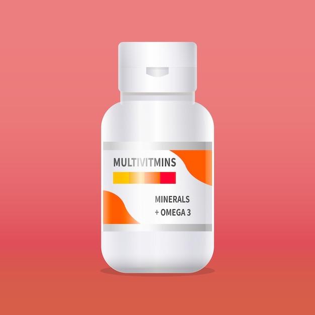 現実的なビタミン複合容器 無料ベクター