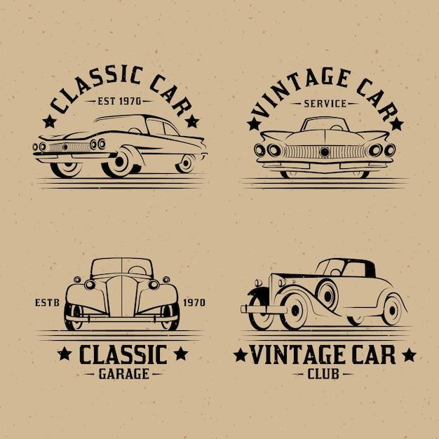 ヴィンテージカーのロゴコレクション 無料ベクター