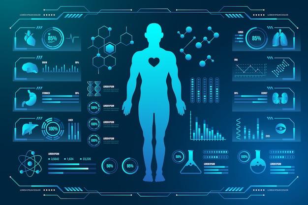 Медицинские технологии с человеческой мужской тематической инфографикой Бесплатные векторы