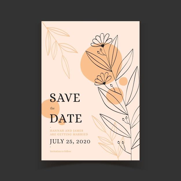 エレガントな結婚式の招待状のテンプレート 無料ベクター