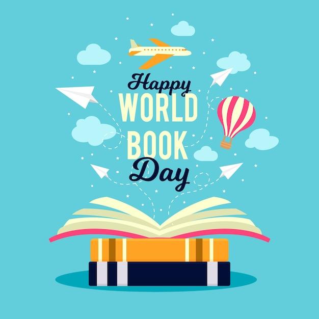 Всемирный день книги на самолете Бесплатные векторы