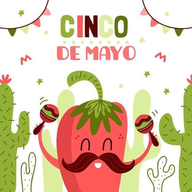 Синко де майо с перцем чили и маракасом Бесплатные векторы