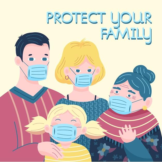 Семья семья носить медицинскую маску Бесплатные векторы