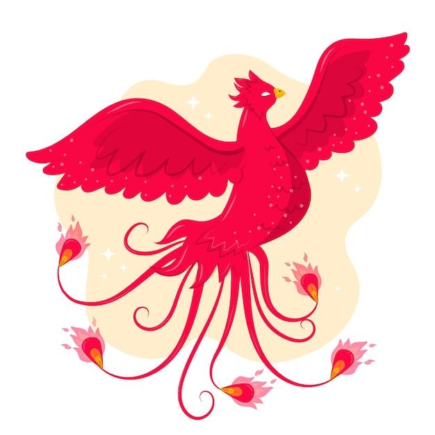 Нарисованная рукой иллюстрация феникса Бесплатные векторы