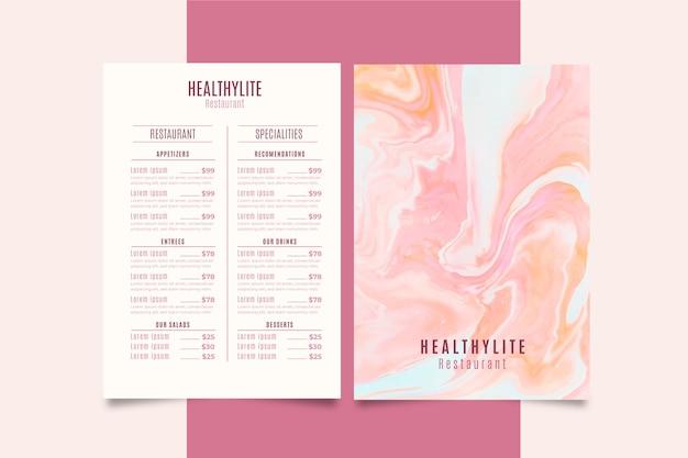 Мраморное меню ресторана здоровой пищи Бесплатные векторы