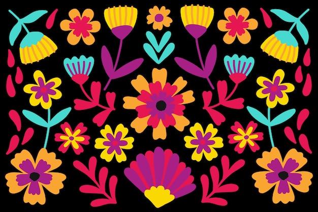 Цветочный мексиканский фон Бесплатные векторы