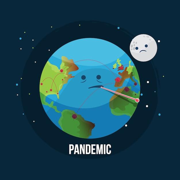 Концепция пандемии с глобусом Бесплатные векторы