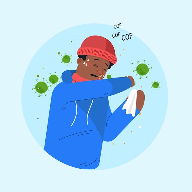 Иллюстрация при кашле человека коронавирус Бесплатные векторы