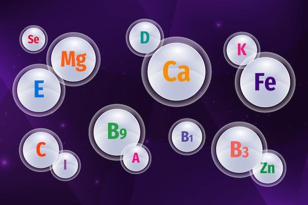 必須ビタミンとミネラルの複合体 無料ベクター