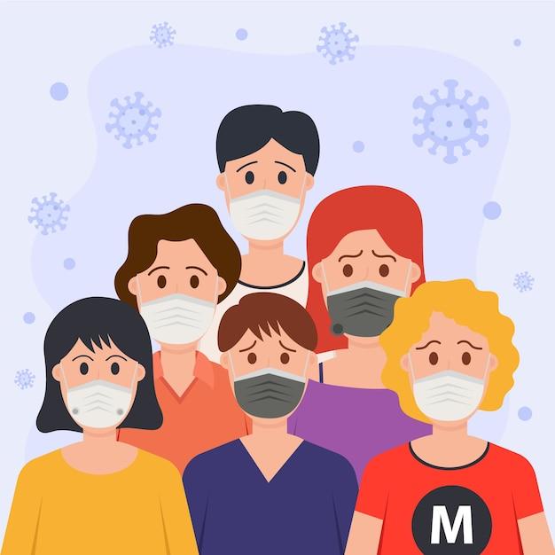 医療用マスクを着ている人 無料ベクター