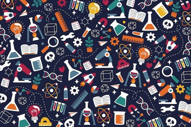 Нарисованная рукой красочная предпосылка образования науки Бесплатные векторы
