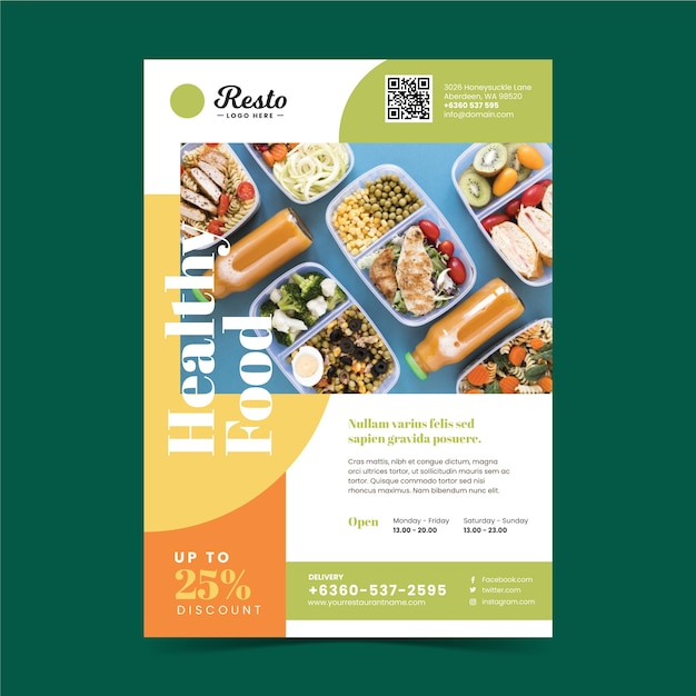 Шаблон плаката ресторана здорового питания Бесплатные векторы