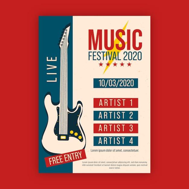 Музыкальный плакат с электрической гитарой Бесплатные векторы