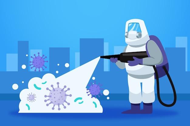 防護服によるウイルスの消毒 無料ベクター