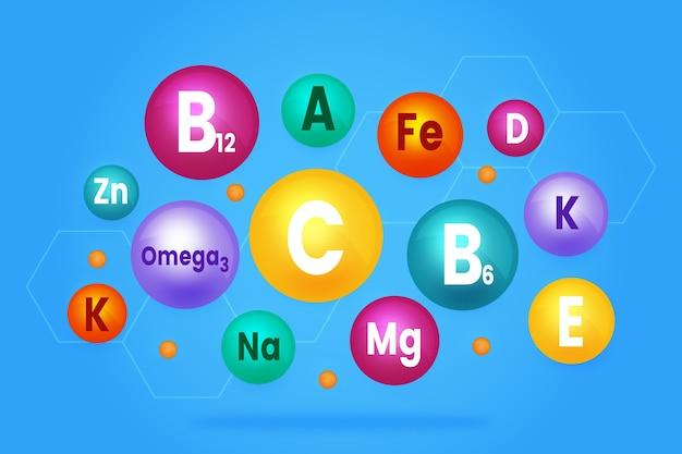 必須ビタミンとミネラルの複合体のコレクション 無料ベクター