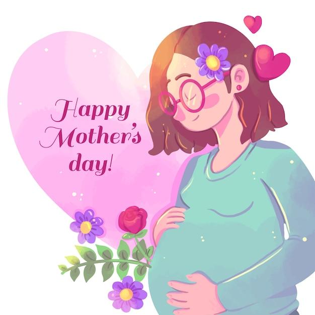 妊娠中の女性と水彩画の母の日 無料ベクター