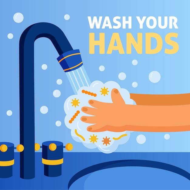Иллюстрированная техника мытья рук Бесплатные векторы