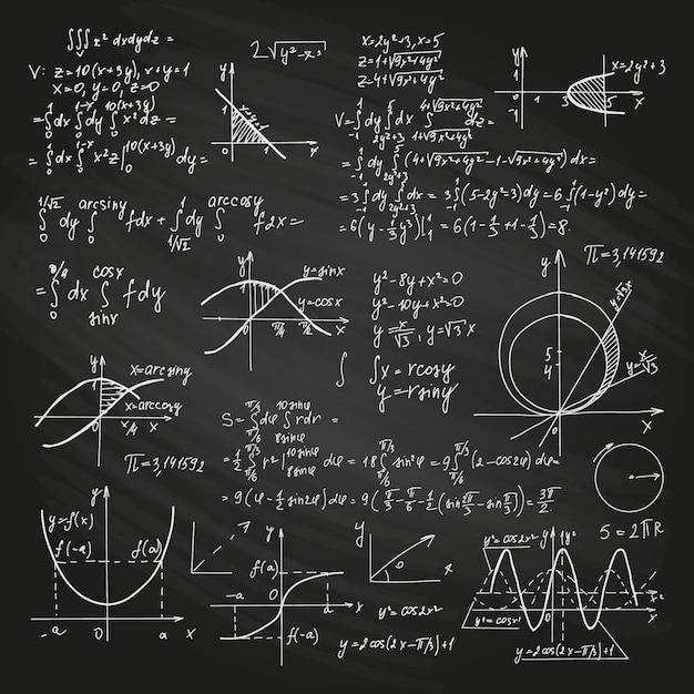 Научные формулы на доске Бесплатные векторы