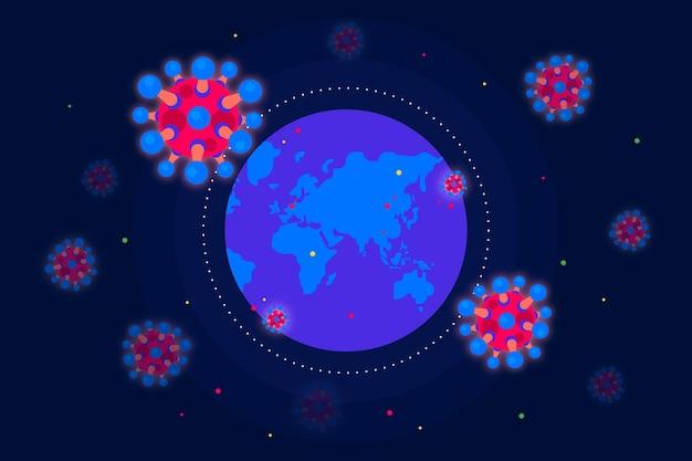 Иллюстрация с коронавирусом и земным шаром Бесплатные векторы
