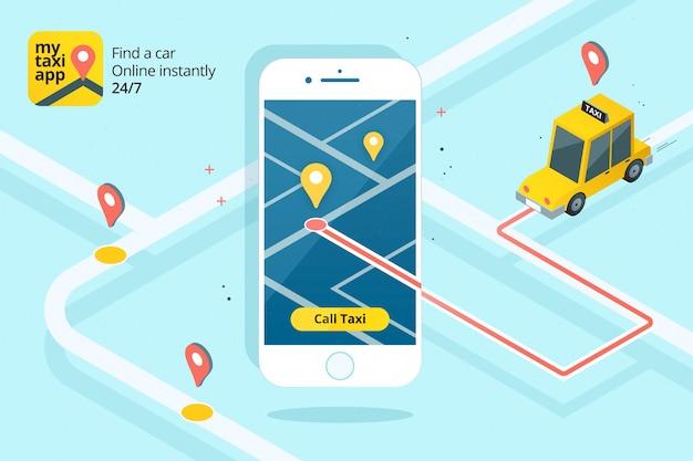 イラスト付きのタクシーアプリのインターフェース 無料ベクター