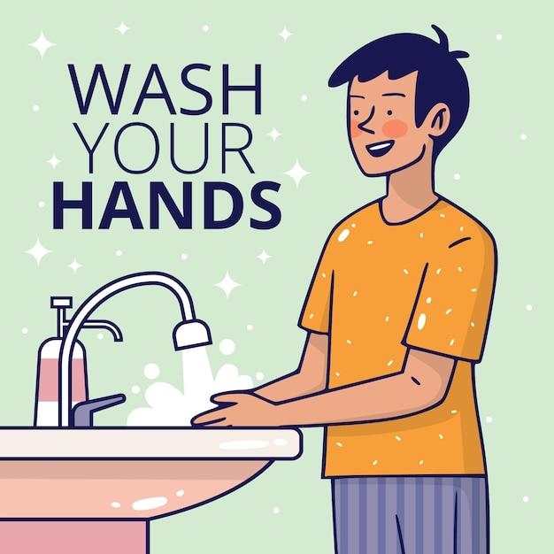 手を洗うフラットスタイル 無料ベクター