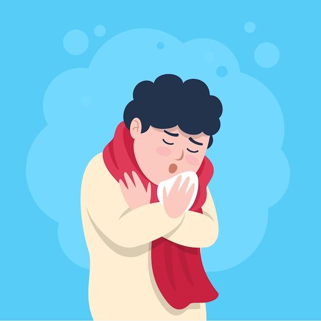 風邪の咳を持つ男 無料ベクター