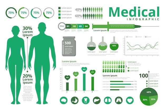 医療インフォグラフィックテーマ 無料ベクター