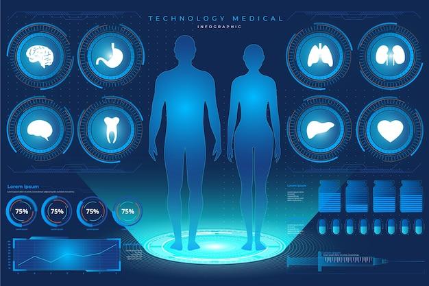 Технологический дизайн медицинской инфографики Бесплатные векторы
