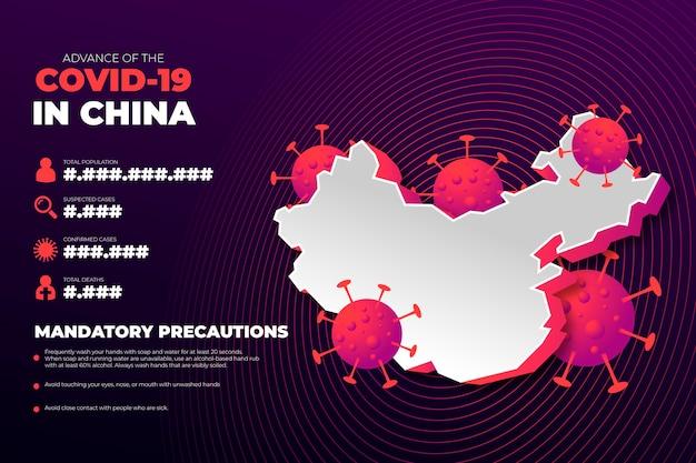 中国のコロナウイルス国地図インフォグラフィック 無料ベクター