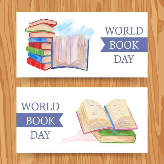 水彩デザインの世界の本の日バナー 無料ベクター