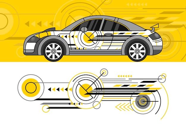 Концепция дизайна автомобиля Бесплатные векторы