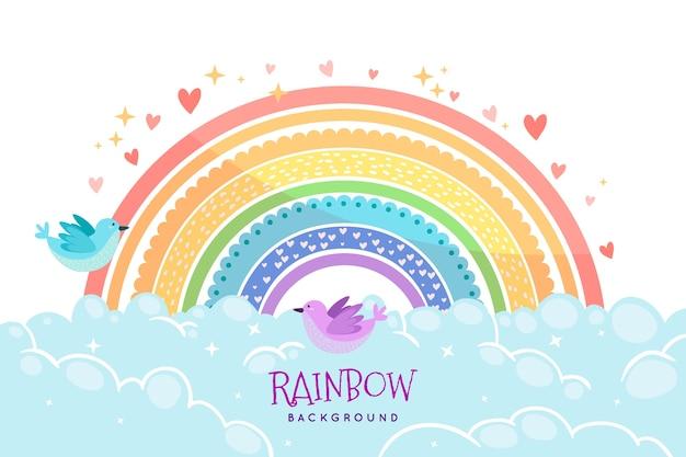 手描きの虹のテーマ 無料ベクター