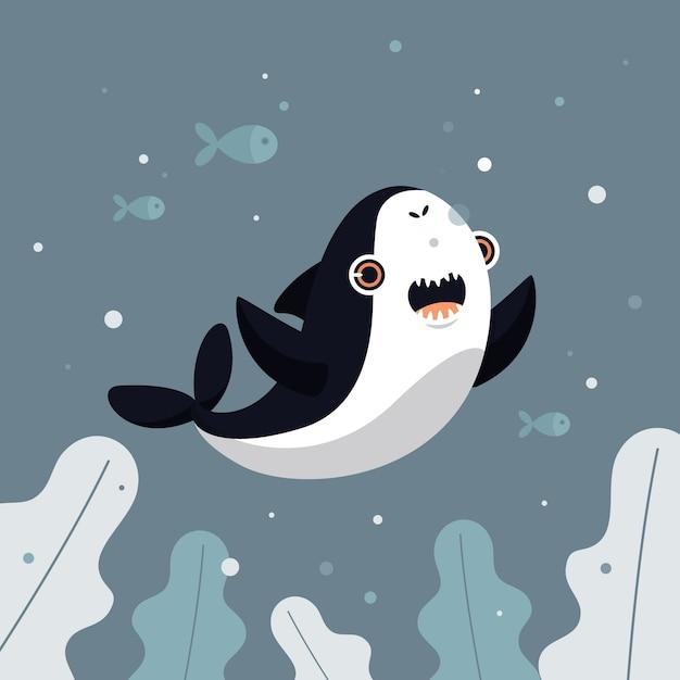 Плоский дизайн концепция акула ребенка Бесплатные векторы