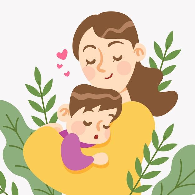 Плоский дизайн концепции день матери Бесплатные векторы