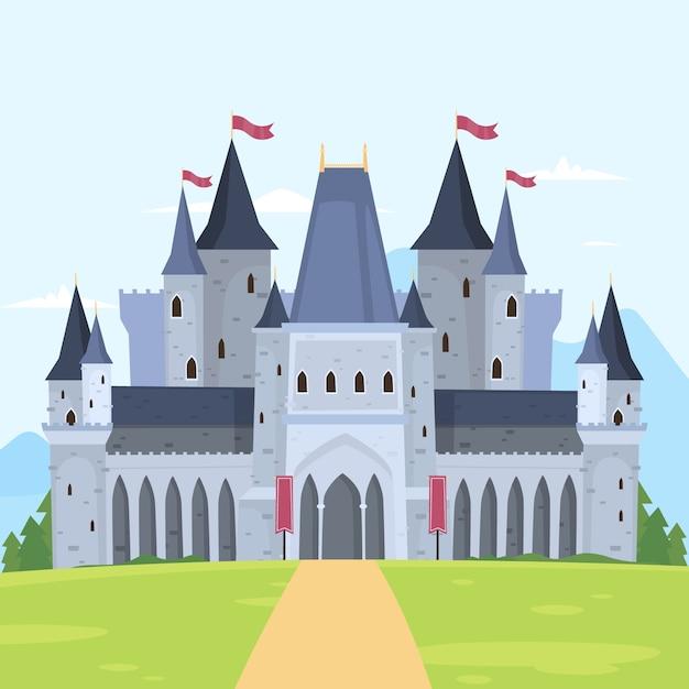 おとぎ話の城のコンセプト 無料ベクター
