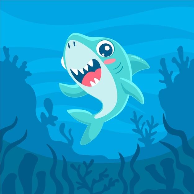 Плоский дизайн детская акула в мультяшном стиле Бесплатные векторы