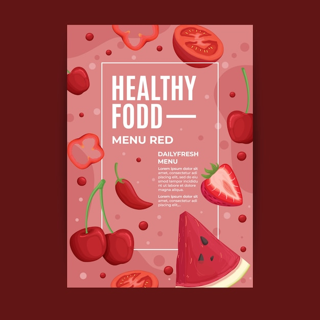 Флаер дизайн здоровой пищи Бесплатные векторы