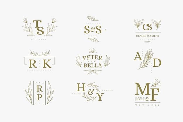 Цветочный дизайн свадебных логотипов Бесплатные векторы