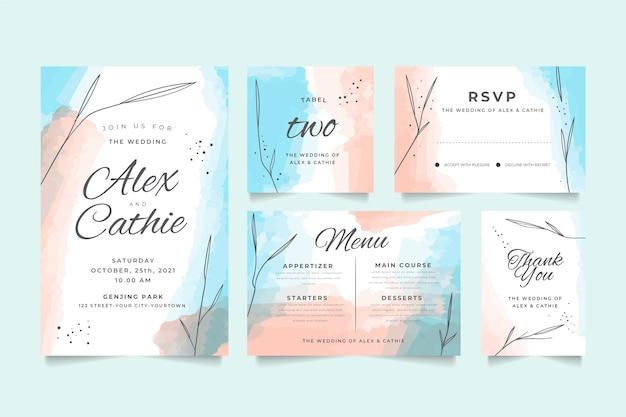 結婚式の文房具デザイン 無料ベクター