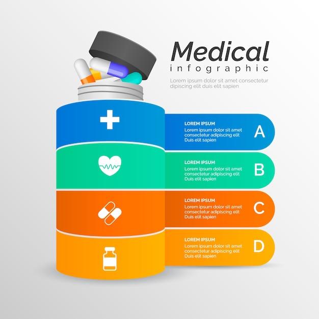 Медицинская инфографика с таблетками Бесплатные векторы