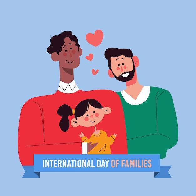 Международный день семей с двумя отцами Бесплатные векторы