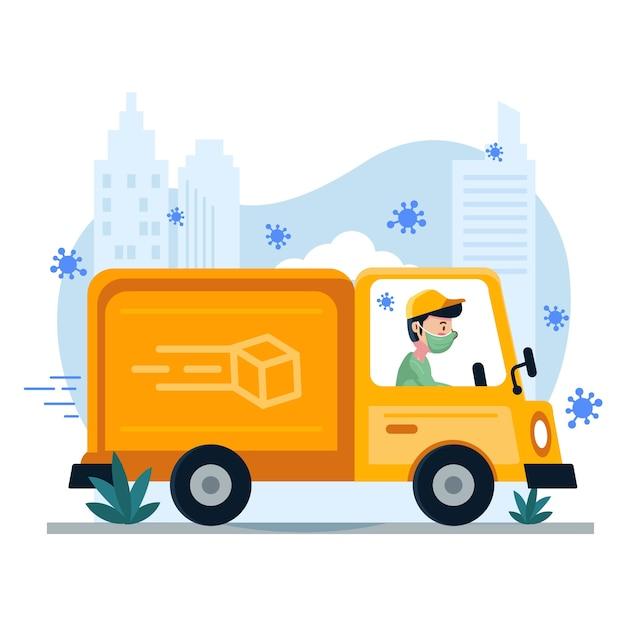 Служба доставки с человеком в грузовике и маске Бесплатные векторы