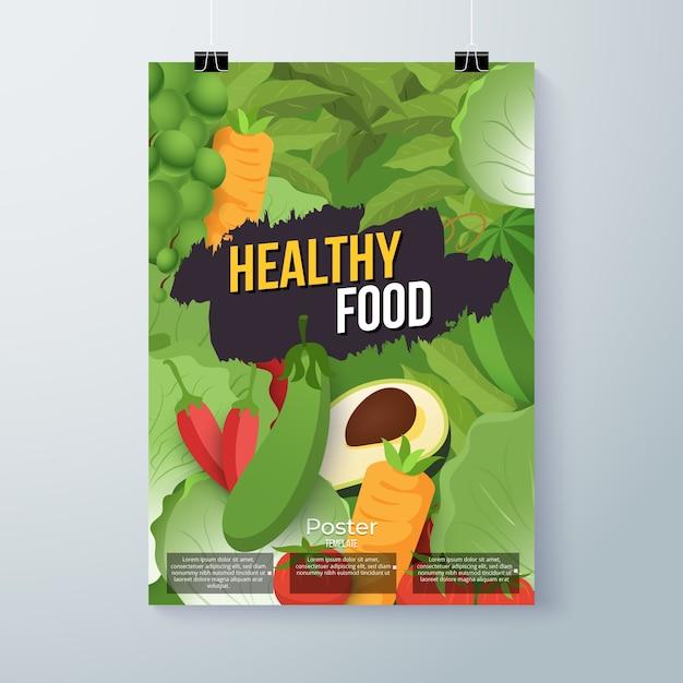 Стиль плаката здоровой пищи Бесплатные векторы