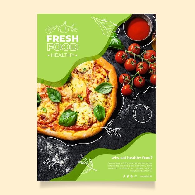 健康食品レストランポスターテンプレート 無料ベクター