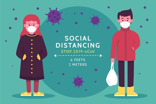 社会的距離の概念図 無料ベクター