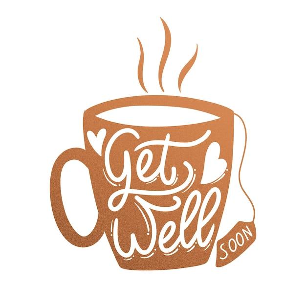 Выздоравливай скорее надписи кофейная кружка Бесплатные векторы