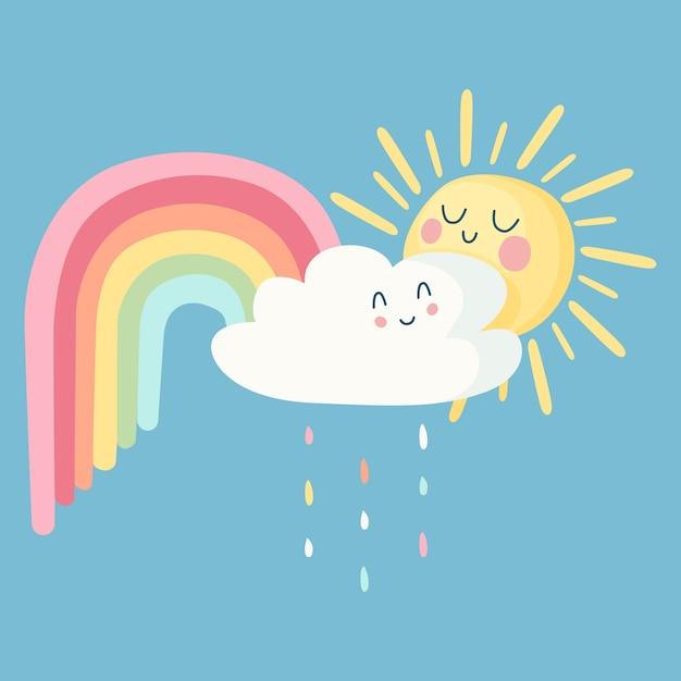 Счастливое солнце и облака с радугой Бесплатные векторы